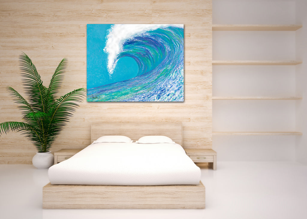 big wave art, wave prints on canvas, wave wall art, ocean prints, ocean art prints,
