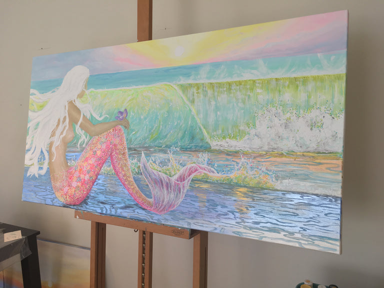 mermaid art print, beach decor mermaids, mermaid room decor, sunrise decor, sunset decor, sunrise art canvas prints, sunrise painting, pink beach decor