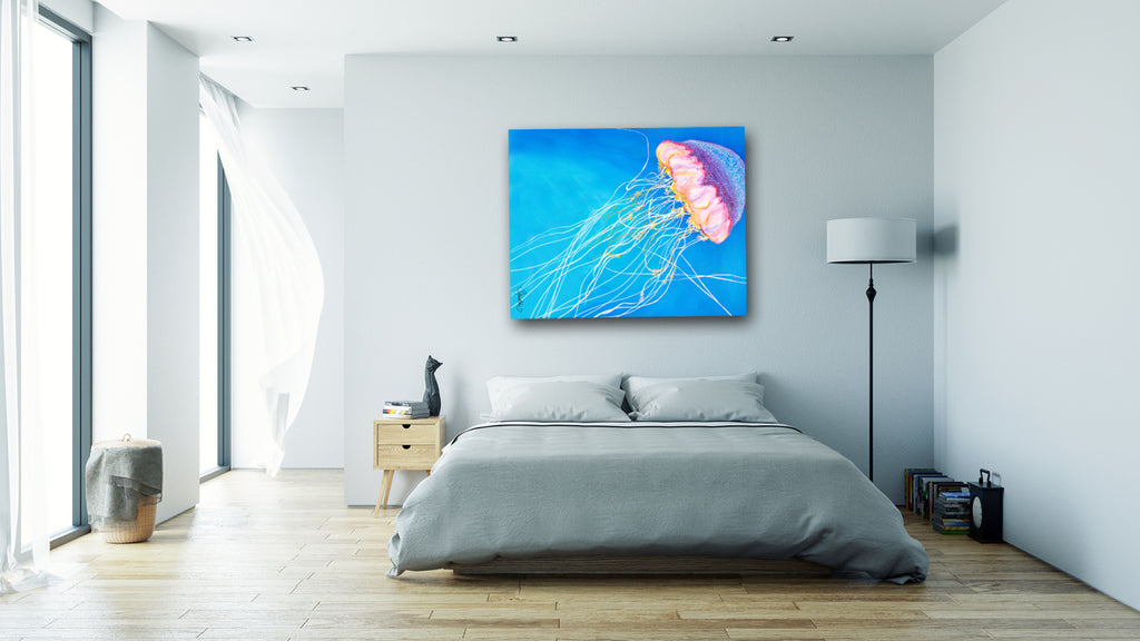 sea creatures, jellyfish kids, jellyfish, cute jellyfish, sea life decor, jellyfish decor, jellyfish wall art, jellyfish on canvas,