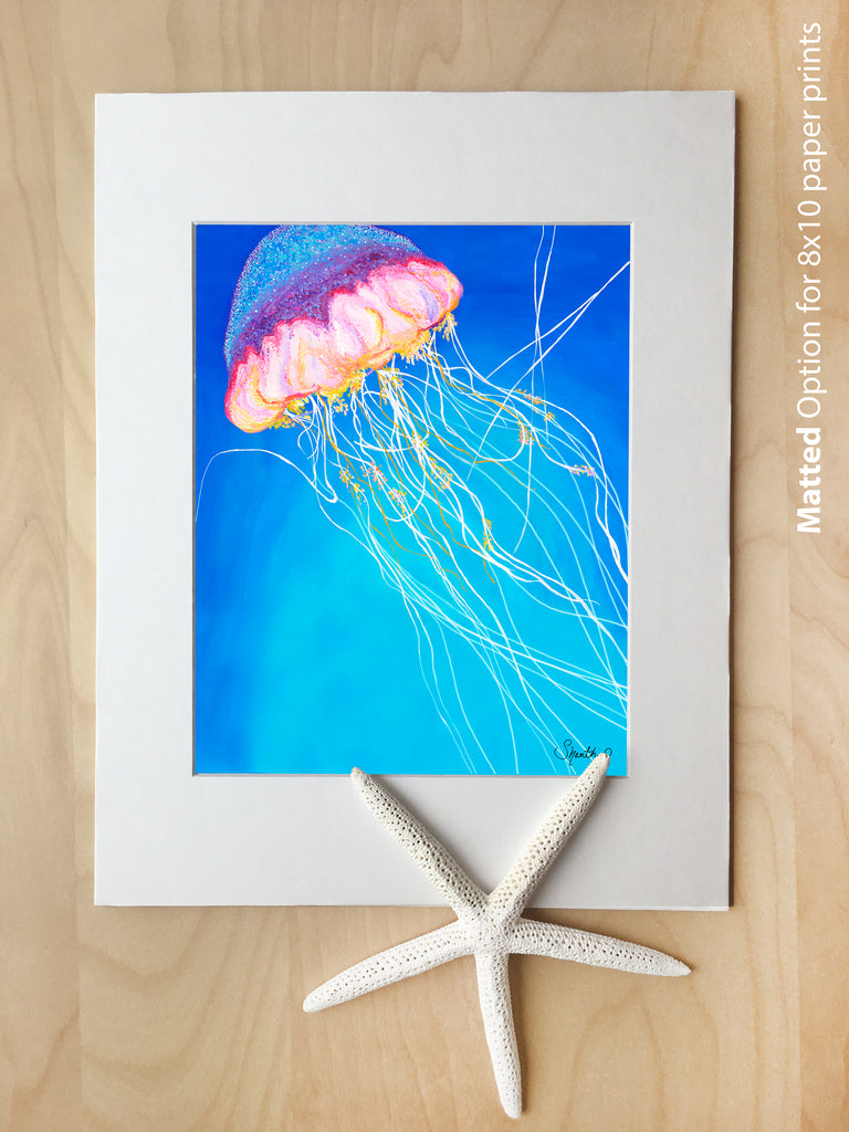 jellyfish art, 8x10 paper prints, matted art for 11x14 frame, beach art, sea creature wall art