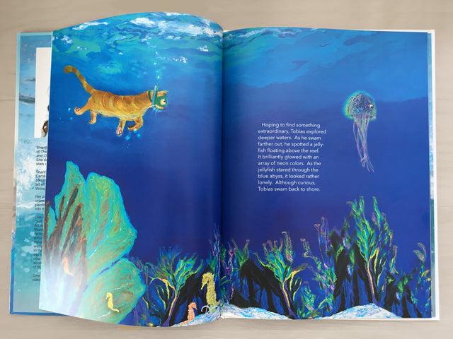 cute jellyfish, bedtime stories, swimming cat, seacat