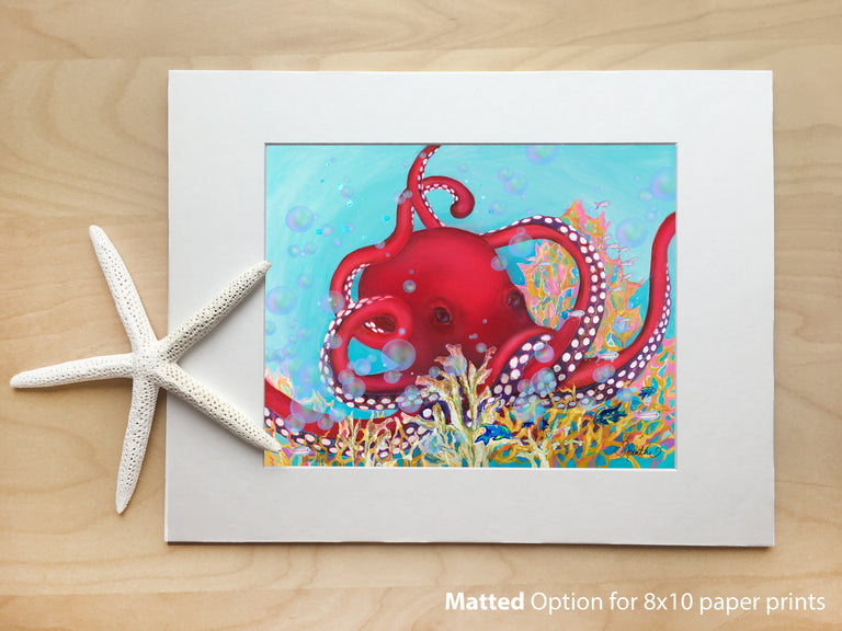 8x10 paper prints, beach art, kids room, octopus art, 11x14 frame, red octopus, sea creature wall art