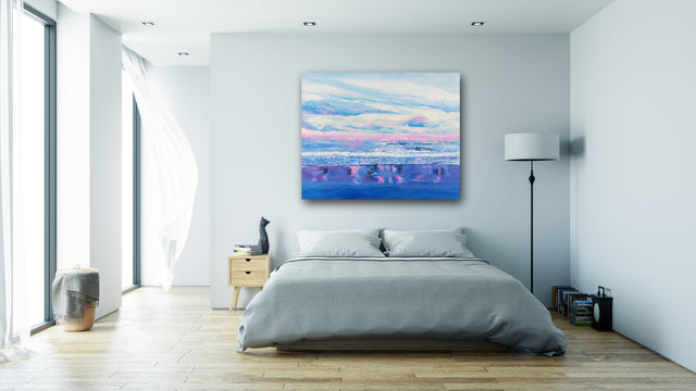 pink ocean, calm waves, calm ocean, seascape, calm waters, impressionism, the coast, pink sky