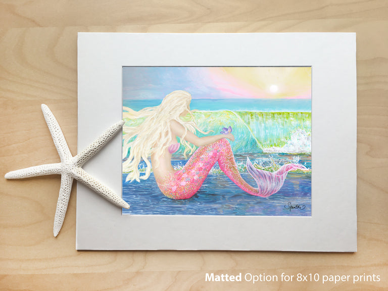 mermaid gifts, mermaid art print, paper prints, 8x10 paper prints matted, mermaid wall art
