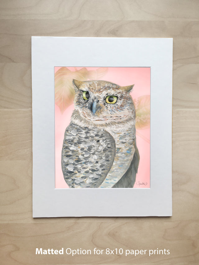 owl gifts, owl art print, 8x10 paper print matted, nursery art, woodland animals, owl wall art