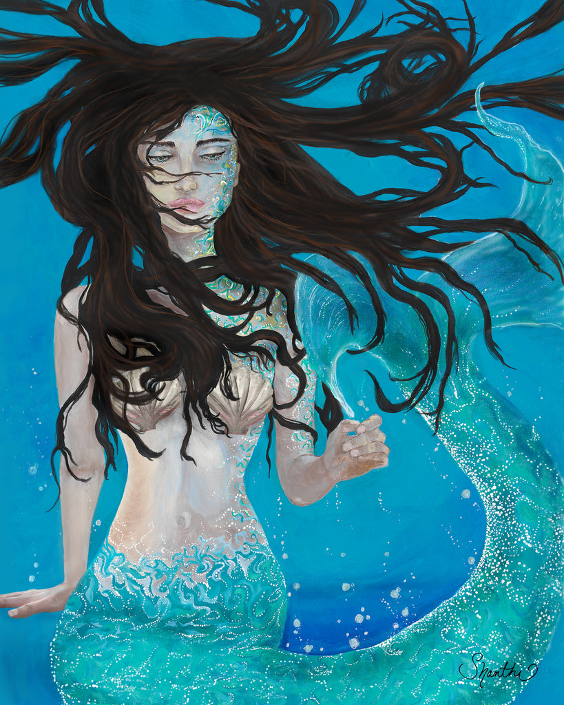 mermaid art prints, mermaid with dark hair, mermaid decor, mermaid bathroom decor, mermaid prints on canvas, mermaid artwork