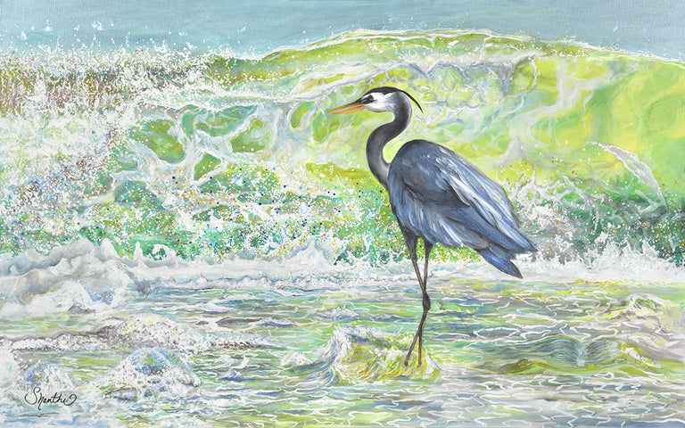 coastal art prints, heron wall art prints, great blue heron framed art prints on canvas, heron painting, egret art