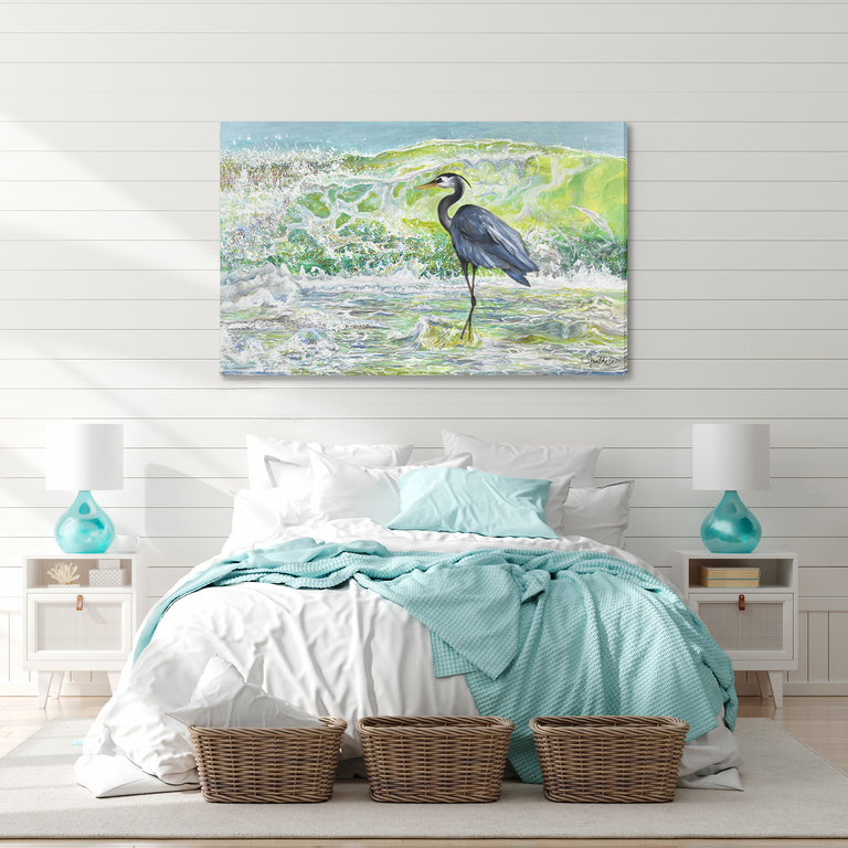 heron wall art prints, great blue heron framed art prints on canvas, heron painting, egret art