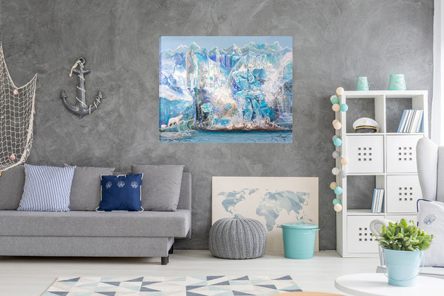 impactful art, art for climate change, shanthi thiruppathi, large format art, large canvas prints, metal prints, polar bear habitat, polar bear art print, polar bear images, polar art, glacier pictures, paintings of glaciers, ice art, iceberg breaks off, ice glaciers melting