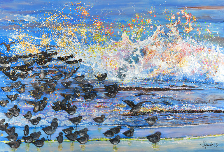 shanthi thiruppathi, amazing art, birds wall decor, best art, beautiful art, wave painting, beach hotel design, Amazing paintings, waves crashing, impressionist landscape, design hotels,