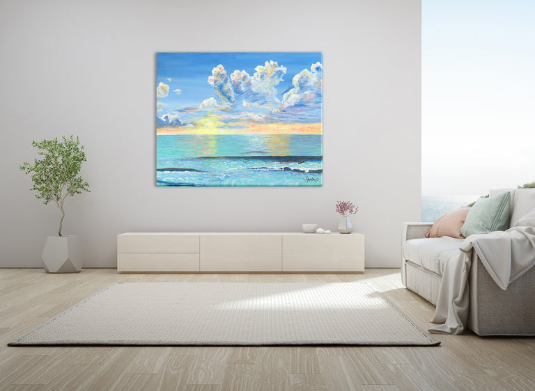 morning sunrise colors, beautiful sunrise, beach decor, calm ocean, calm waves
