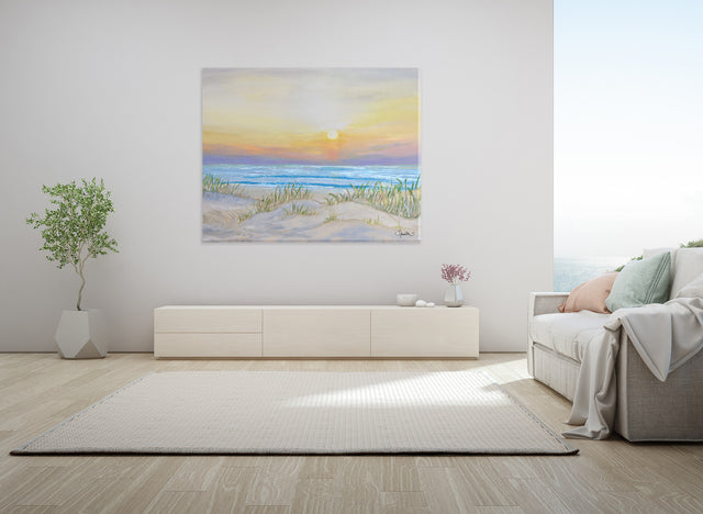 sand dunes, morning sunrise colors, beautiful sunrise, beach decor, calm ocean, calm waves