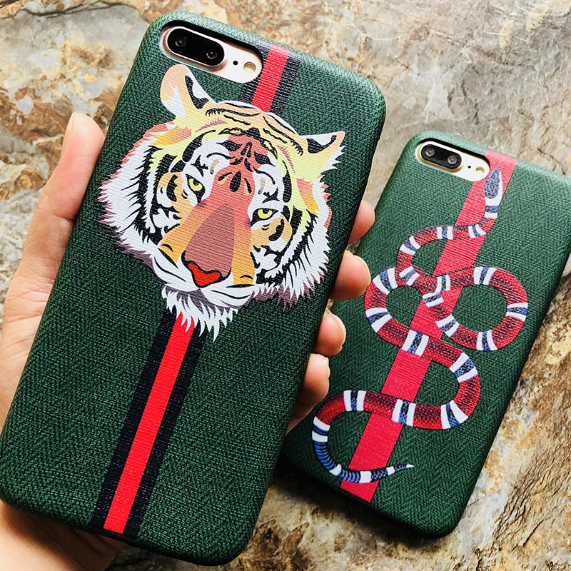 online store d656a 818bd Kerzzil Luxury Snake Tiger Animal Case For iPhone 8 7Plus Soft PU Leather  Cartoon Cases For iPhone X 7 6 6s Plus Gift Cover Capa