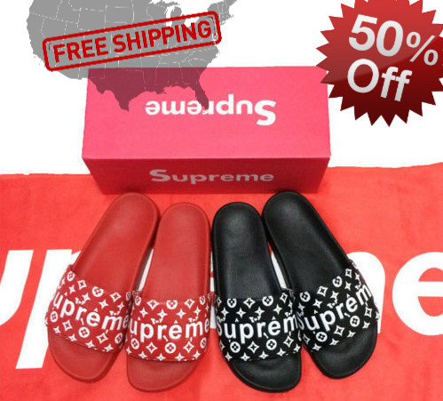 9230ea7ac051 ... Supreme x Louis Vuitton slides (custom) Red Black ...