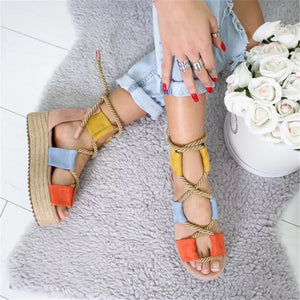 Platform Rope Sandals - YELLOW SUB TRADING