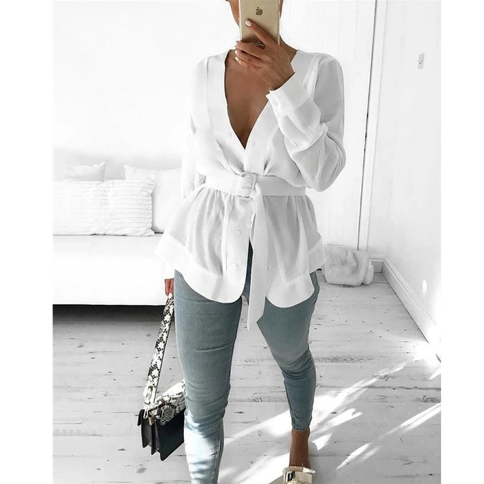 V-Neck Butoon up Blouse