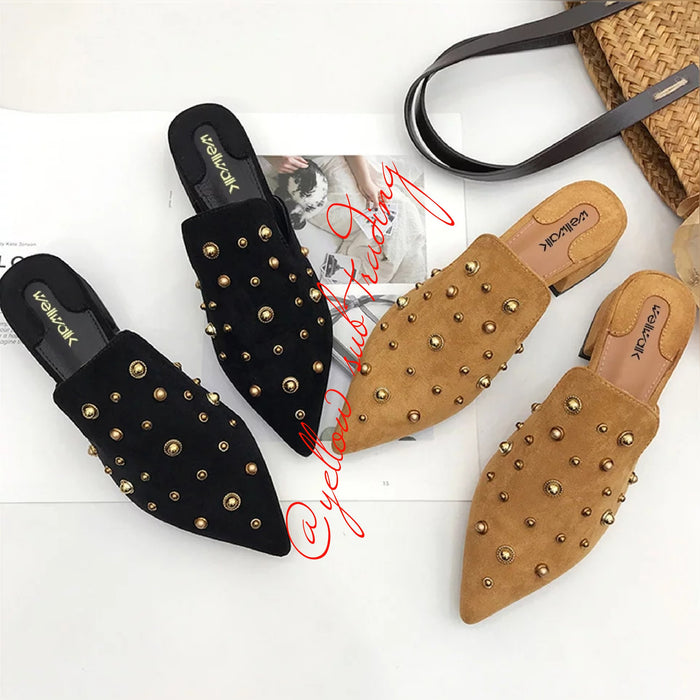 Rivet  Pointed Toe Slippers.