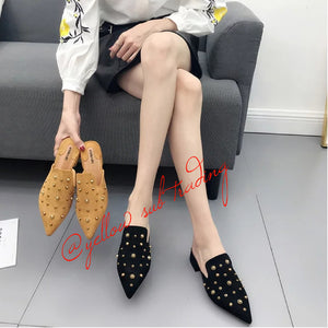 Rivet  Pointed Toe Slippers. - YELLOW SUB TRADING