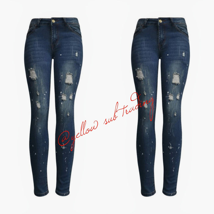 YST-1053 Distress blue jeans