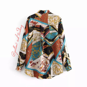 Colourful Print Blouse - YELLOW SUB TRADING