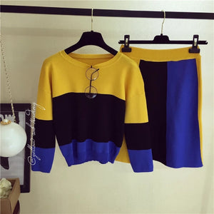 Colour Block Knit Sweater Set - YELLOW SUB TRADING