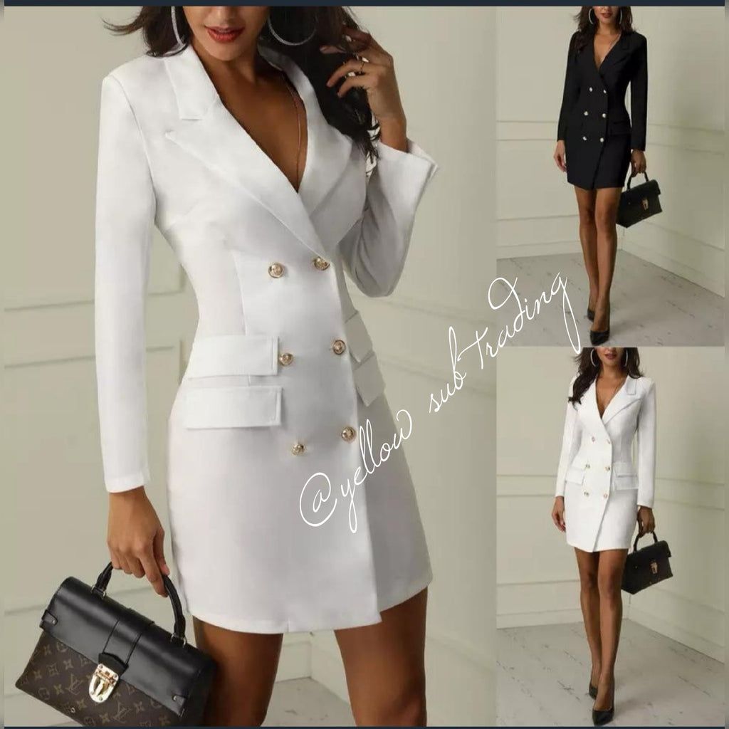 Double Breasted  Blazer Dress - YELLOW SUB TRADING