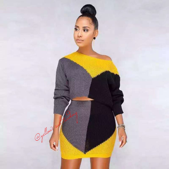 Knitted Winter Sweater Set - YELLOW SUB TRADING