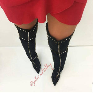 Thigh High Rivets Studded Boots - YELLOW SUB TRADING