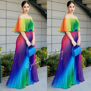 Off Shoulder Rainbow Dress - YELLOW SUB TRADING