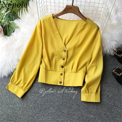 V-Neck Buttons Short Blouse  - YELLOW SUB TRADING