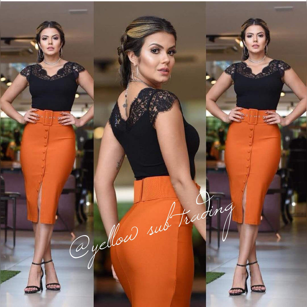 Butoon up High Waisted Pencil Skirt