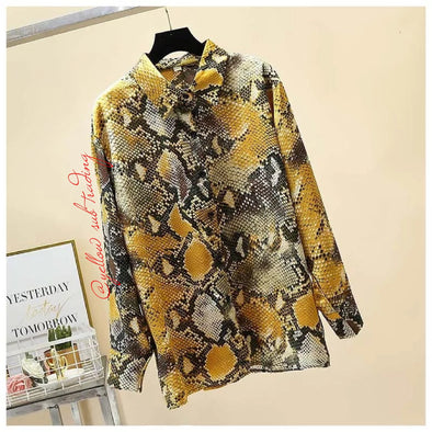 Snake Print Long-Sleeved Shirt - YELLOW SUB TRADING