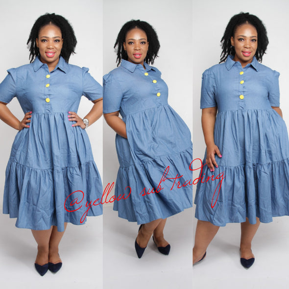 Plus-size Denim Dress - YELLOW SUB TRADING