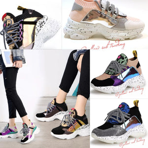 Lace Up Chunky Platform Sneakers - YELLOW SUB TRADING