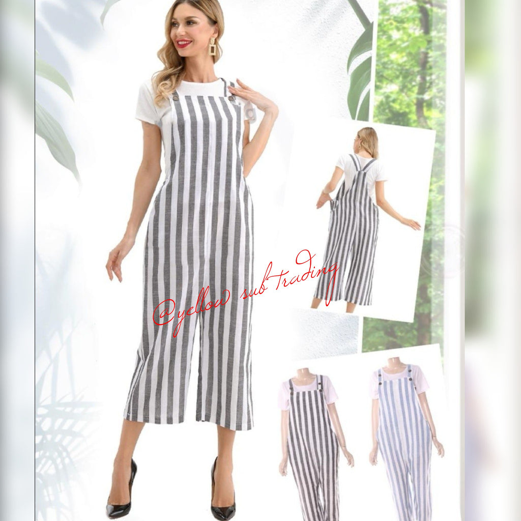 Free Mee Striped Jumpsuit - YELLOW SUB TRADING