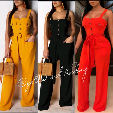 Button Detail Wide Leg Jumpsuits - YELLOW SUB TRADING