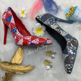 Floral Stiletto Pointed Toe Heel - YELLOW SUB TRADING