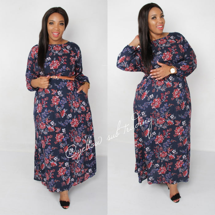 Side Pocket Floral Maxi Dress