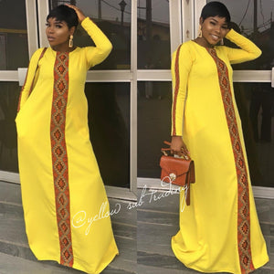 Long Sleeve Print Maxi Dress  - YELLOW SUB TRADING