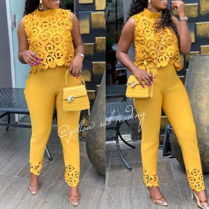 Hollow Out Top & Pants  Set  - YELLOW SUB TRADING