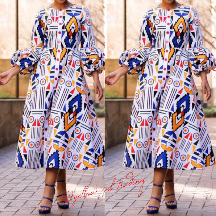 Butoon Detailed Puff Sleeve Ankara Dress