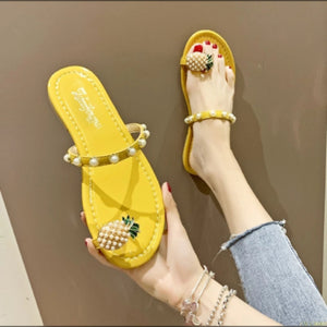 Pineapple Design Flat Slippers - YELLOW SUB TRADING