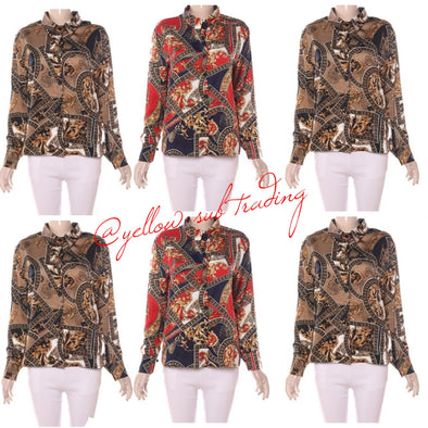 colourful Print Blouses - YELLOW SUB TRADING