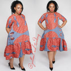 3 Quarter Sleeve High-Low Ankara Dress  - YELLOW SUB TRADING