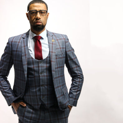 3 Piece Blazer Pants waist Coat Plaid Suit