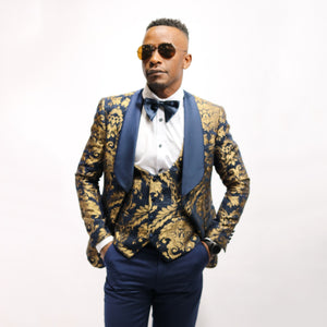 Floral 3 Piece Tuxedo Suit - YELLOW SUB TRADING