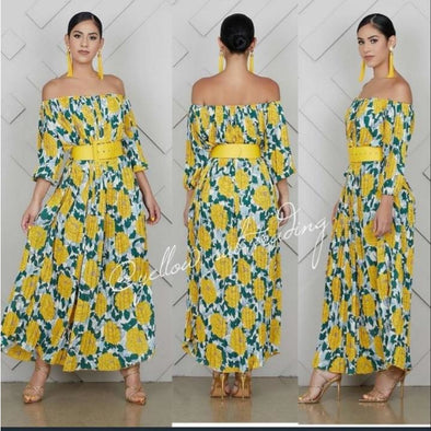 Off Shoulder Pleated Floral Maxi Dress - YELLOW SUB TRADING