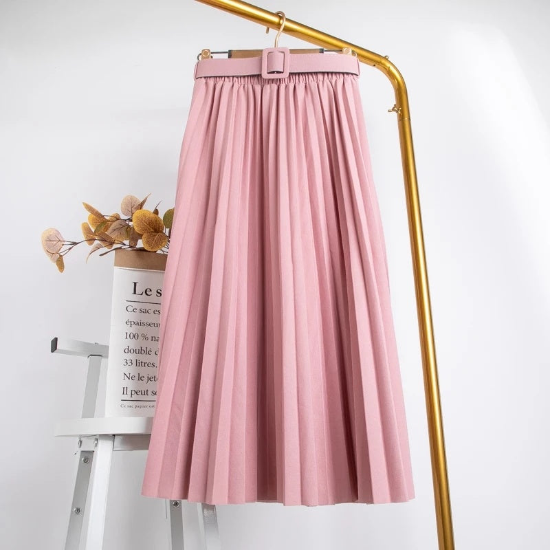 Suade Belted Pleated Midi Skirts