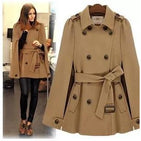 Winter Turn down Collar Belted Cape Coat