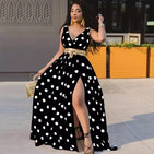 Polka dot sexy V-neck Maxi Dress